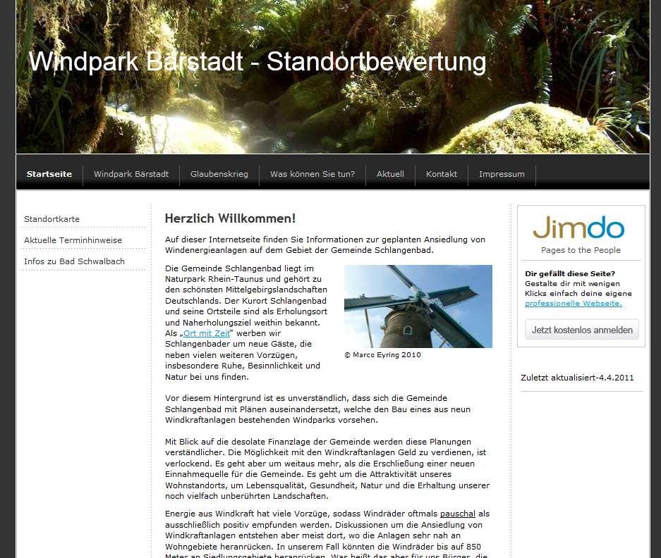 Windpark Bärstadt - Standortbewertung