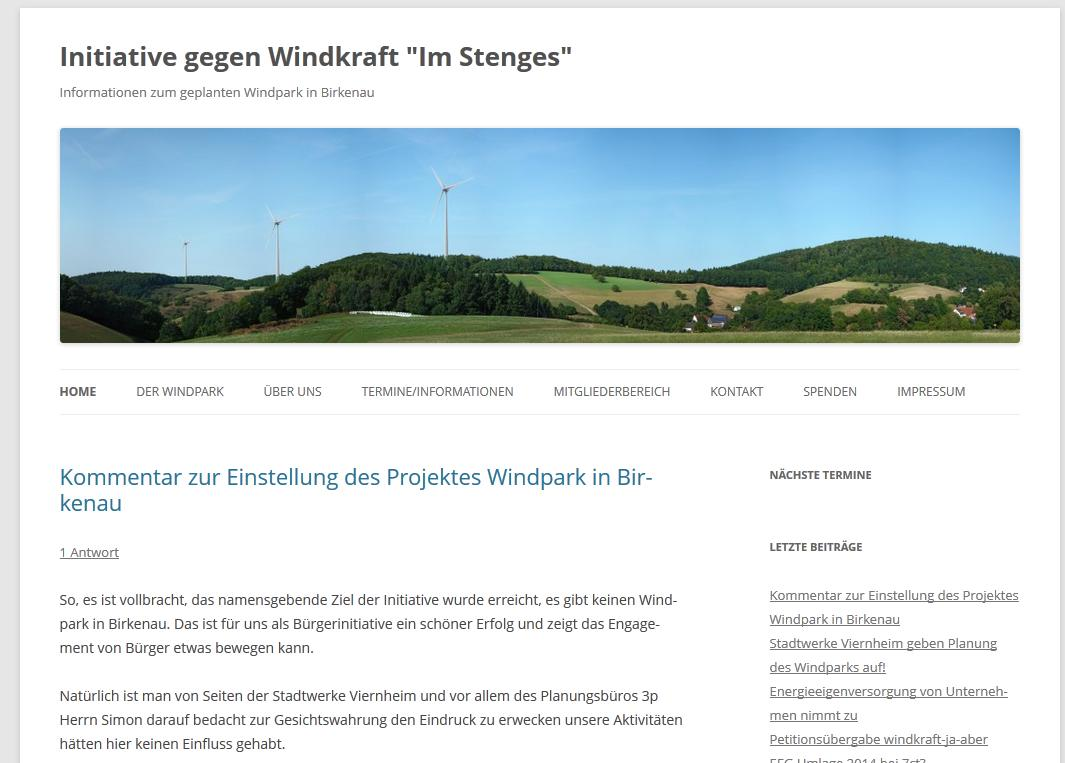 "Initiative gegen Windkraft ""Im Stenges"" Birkenau"