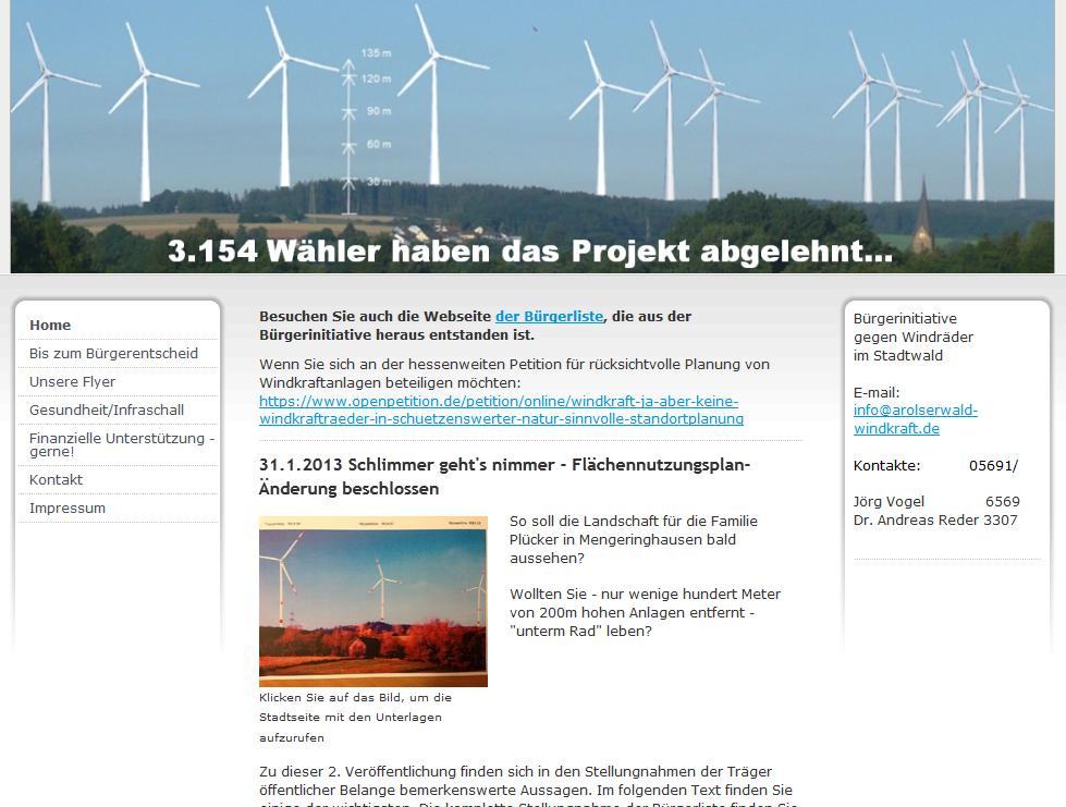 BI gegen Windräder im Stadtwald (Bad Arolsen)