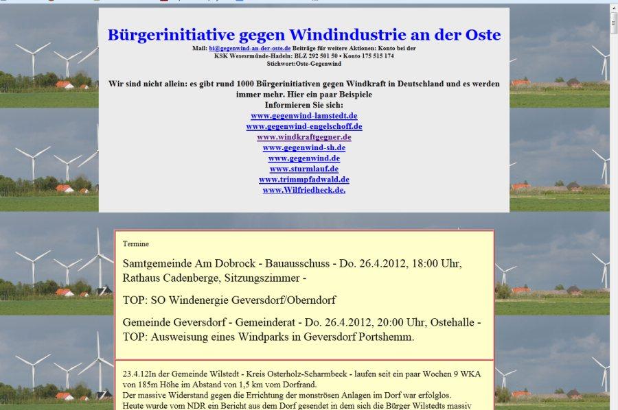 Bürgerinitiative gegen Windindustrie an der Oste